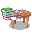 student with book wooden table isolated on the vector image