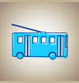 trolleybus sign sky blue icon with vector image vector image