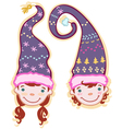two heads of children gnomes in caps vector image