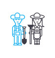 work in the garden linear icon concept work in vector image