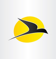 flying bird and sun freedom conceps icon vector image