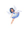 little pixie in blue fancy dress cartoon fairy vector image