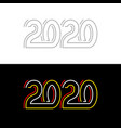 2020 new year red yellow and white lines neon vector image vector image