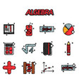 algebra flat icons set vector image vector image