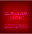 alphabet neon fluorescent lighting font vector image