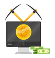 bitcoin mining icon cartoon style vector image vector image