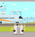 business meeting at airport vector image