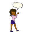 cartoon happy businesswoman with speech bubble vector image
