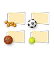 cartoon sport equipment banners set vector image vector image