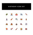 celebration birthday icon set with filled outline vector image vector image