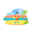 character in swimming equipment beach vector image