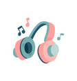 concept music retro headphones and musical notes vector image