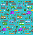 cute colorful cartoon city transport pattern vector image vector image