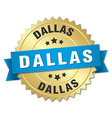 Dallas round golden badge with blue ribbon vector image vector image
