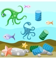 Deep-sea life and pollution of the environment vector image