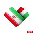 Flag icon in the form of heart I love Iran vector image vector image