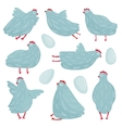 Funny Hen Poses and Eggs Collection vector image vector image