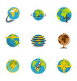 globe icons set flat style vector image vector image