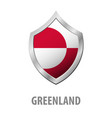 greenland flag on metal shiny shield vector image