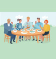 group of friends resting and eating on the nature vector image vector image