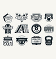 gym club fitness and workout badges vector image vector image