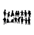 happy kid activity silhouettes vector image vector image