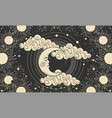 heavenly banner crescent moon with a face on a vector image vector image