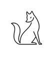 isolated black and white fox icon creative logo vector image