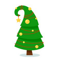 isolated green fluffy pine for christmas on white vector image vector image