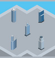 isometric construction set of tower skyscraper vector image