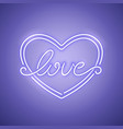 love heart purple neon banner vector image vector image