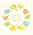 Lovely frame with cartoon cute birds hearts and vector image vector image