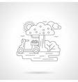 Moped in garden detailed line vector image vector image