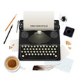 realistic literature objects of writer vector image vector image