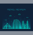 reno skyline nevada usa city linear style vector image vector image