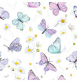 seamless daisy flowers and butterfly vector image vector image