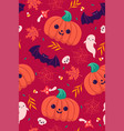 seamless halloween pattern with pumpkins and bats vector image