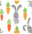 seamless pattern with cute rabbits in various vector image vector image