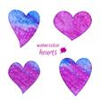 set watercolor hearts vector image