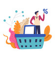shopping man with big basket and percent sale vector image vector image