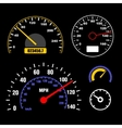 Speedometers Set on Black Background vector image vector image