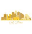 tel aviv israel city skyline golden silhouette vector image vector image