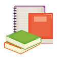 text book and notebook school supplies vector image