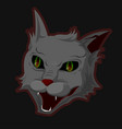 the head of an evil demonic cat with an evil grin vector image vector image