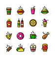 Thin line fast food icons set