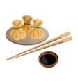 Three wontons on plate and soy sauce with sticks vector image