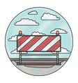 traffic barrier in circular frame with cloud vector image vector image