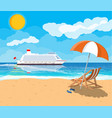 tropical beach with cruise ship vector image vector image