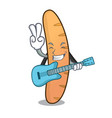 with guitar baguette mascot cartoon style vector image vector image