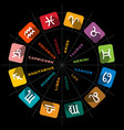 zodiac symbols in circle on black background vector image vector image